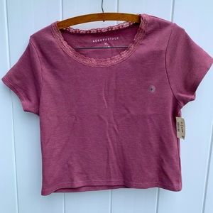 Aeropostale NWT slight crop top thermal / lace